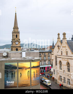 View from above of Inverness museum & art gallery and Tolbooth Steeple, Inverness, Scotland, UK - Stock Image