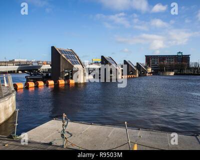 River Lagan flood barriers, Belfast city centre - Stock Image