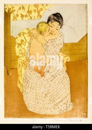 Mary Cassatt, Maternal Caress, print, c. 1891 NGA - Stock Image