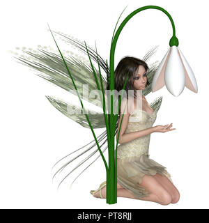 Dark Haired Snowdrop Fairy Kneeling by Winter Flowers - Stock Image