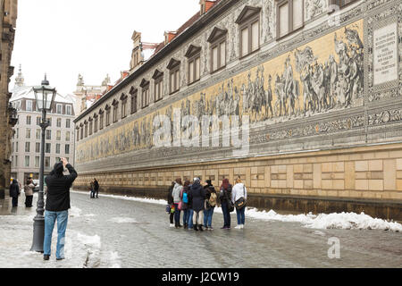 Germany, Dresden. Tile mural of mounted procession of Saxony rulers. Credit as: Wendy Kaveney / Jaynes Gallery / - Stock Image
