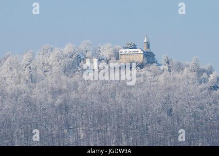 Castle Teck in winter, home Kirch under Teck, Baden-Wurttemberg, Burg Teck im Winter, Kirchheim unter Teck, Baden - Stock Image