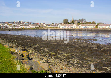 28 March 2019 The small bay and waterfront of Killyleagh village in County Down Northern Ireland on Strangford Lough at low tide. - Stock Image