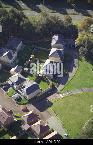Aerial view of housing in a small cul-de-sac - Stock Image