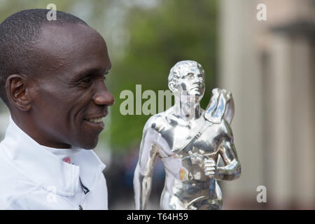 London,UK,29th April 2019,The London Marathon Winners photocall took place outside the Tower Hotel. Kenyan Eliud Kipchoge posed with a trophy. Credit: Keith Larby/Alamy Live News - Stock Image
