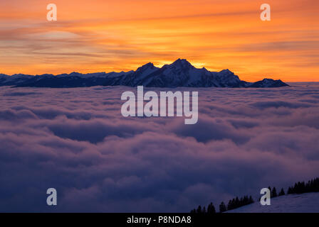 Pilatus mountain over clouds - Stock Image