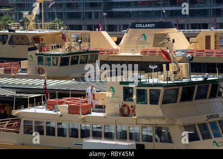Sydney Ferries moored at Circular Quay terminal in Sydney Harbour including the Sirius (First Fleet Cl.) and Collaroy (Freshwater Cl.) - Stock Image