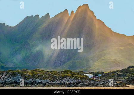 Mist Over The Mountains The Lofoten Islands, Norway - Stock Image
