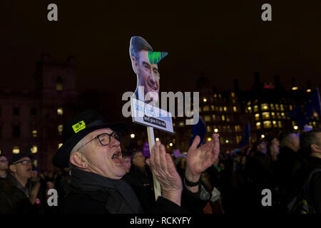 A Remain protester holds a William Rees-Mogg unicorn parody in Westminster before the result of MPs' Meaningfull Brexit vote which eventually brought about a massive defeat for Prime Minister Theresa May's Conservative government, on 15th January 2019, in Westminster, London, England. - Stock Image