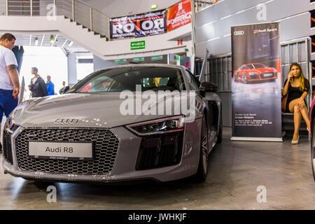 Bielsko-Biala, Poland. 12th Aug, 2017. International automotive trade fairs - MotoShow Bielsko-Biala. Front of an Audi R8. Credit: Lukasz Obermann/Alamy Live News - Stock Image