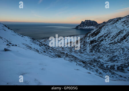 Winter view over Uttakleiv beach from Mannen, Vestvågøy, Lofoten Islands, Norway - Stock Image