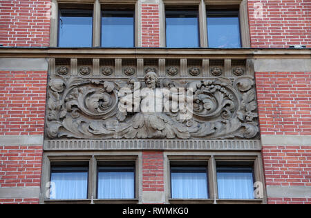 Architectural detail of Narodowy Bank Polski in Gdansk - Stock Image