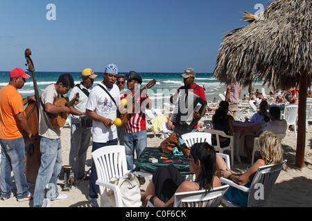 Son Musicians at Playa del Este , Santa Maria Del Mar, near Havanna Cuba - Stock Image