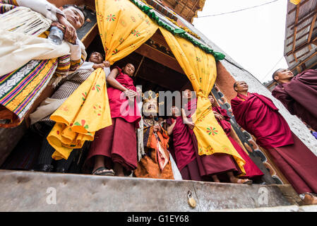 Masked figures of the Dance of terrifying deities (Tungam) at Paro religious festival Bhutan - Stock Image
