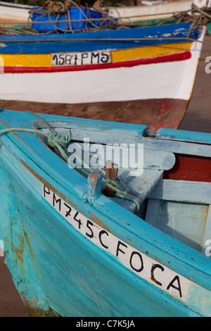 Portugal, Algarve, Ferragudo, Colourful Boats - Stock Image