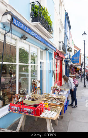 Antique shop display, Portobello Road, Notting Hill, Royal Borough of Kensington and Chelsea, Greater London, England, United Kingdom - Stock Image