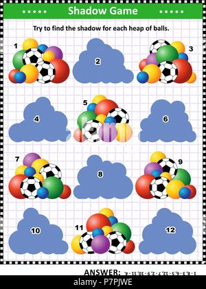 Shadow matching puzzle or game for kids and adults with colorful heaps of football and other balls. Answer included. - Stock Image