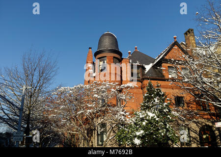 Traditional stone architecture in the historic district in Park Slope, Brooklyn, New York City, New York - Stock Image