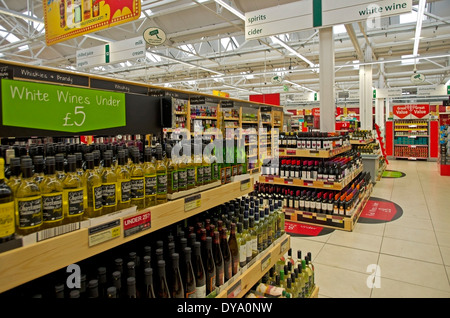 low prices on wine on display at Morrisons supermarket in Hadleigh Suffolk - Stock Image