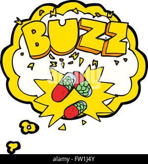 freehand drawn thought bubble cartoon stimulant pills - Stock Image