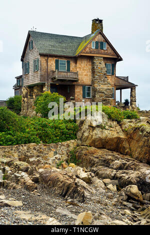 The Stonehouse, a luxurious oceanfront property in Kennebunkport, Maine, USA. - Stock Image