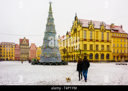 Christmas tree in the town square of Wrocław, Wroclaw, Wroklaw, Poland - Stock Image