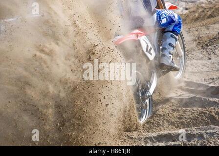 amazing motocross starting on the sand - Stock Image