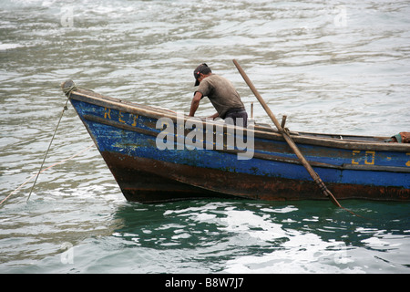 Peruvian Fisherman, San Lorenzo Island, Callao Islands, Lima, Peru, South America. - Stock Image
