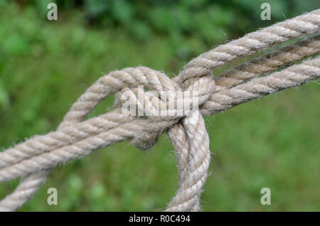 A piece of knotted rope securing a large field tent. - Stock Image