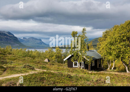 Mountain hut at STF Saltoluokta Fjällstation, Kungsleden Trail, Lapland, Sweden - Stock Image