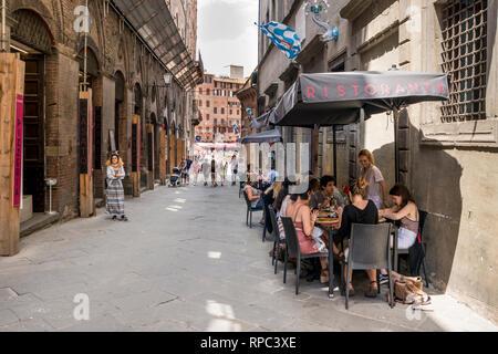 Street of Siena, Tuscany, Italy - Stock Image