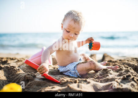 A small toddler girl sitting on beach on summer holiday, playing. - Stock Image