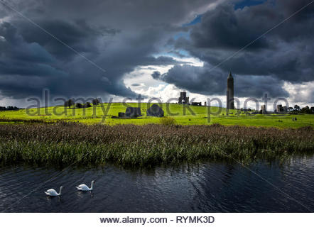 Storm clouds behind Devenish island in County Fermanagh - Stock Image
