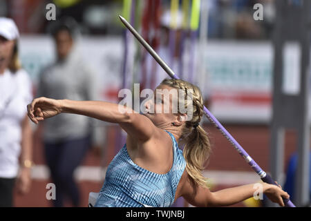 Ostrava, Czech Republic. 20th June, 2019. Irena Sediva (Czech) competes in javelin throw during the Ostrava Golden Spike, an IAAF World Challenge athletic meeting, in Ostrava, Czech Republic, on June 20, 2019. Credit: Jaroslav Ozana/CTK Photo/Alamy Live News - Stock Image