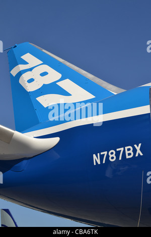 Tail and fin of a Boeing 787  Dreamliner - Stock Image