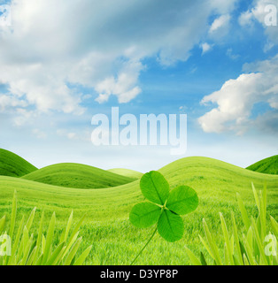 Idyllic spring landscape with four leaf clover - Stock Image