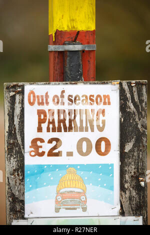 Out of season parking sign. - Stock Image