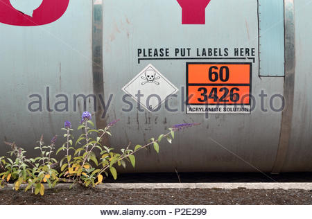 Container of acrylamide at Hull docks.  Acrylamide is mainly used to synthesize polyacrylamides, which are used as water-soluble thickeners for wastew - Stock Image