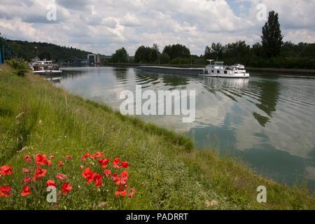 River Seine at Rolleboise en Seine, Yvelines district of Ile de France, north central Normandy, France - Stock Image