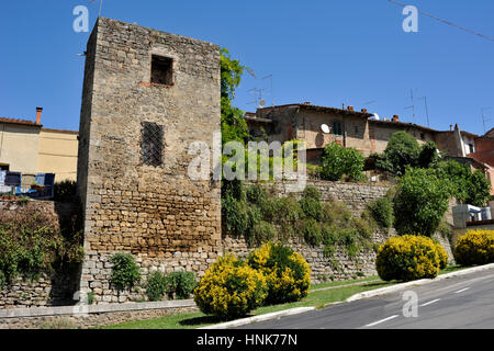 ancient walls, asciano, tuscany, italy - Stock Image