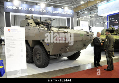 Brno, Czech Republic. 29th May, 2019. BOV 8x8 Vydra (Otter) fighting vehicle was presented at the international trade fair of defence and security technology IDET, trade fair of security technology and services ISET and trade fair of firefighting technology PYROS in Brno, Czech Republic, May 29, 2019. Credit: Igor Zehl/CTK Photo/Alamy Live News - Stock Image