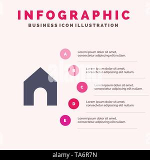Home, Instagram, Interface Solid Icon Infographics 5 Steps Presentation Background - Stock Image