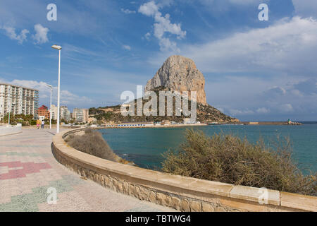 Calp Spain promenade paseo and Penon de Ifach landmark rock Spanish Mediterranean coast - Stock Image