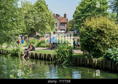 Westgate Gardens,River Stour,Canterbury,Kent,England - Stock Image