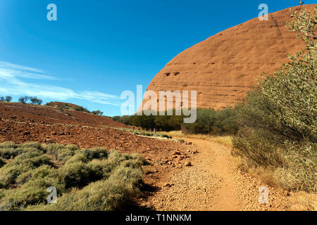 View of a section of the Valley of the winds at Kata Tjuṯa, in the Uluru-Kata Tjuṯa National Park, Northern Territory, Australia - Stock Image
