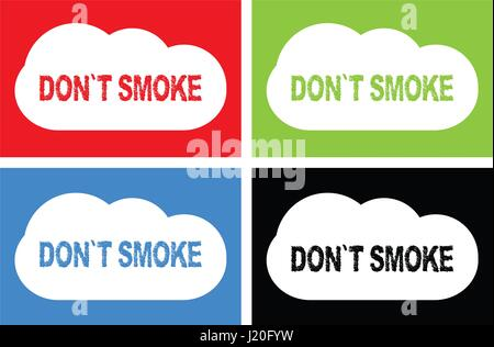 DON'T SMOKE text, on cloud bubble sign, in color set. - Stock Image