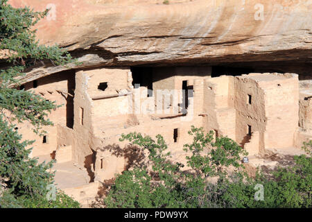 Ancient Anasazi Cliff Dwellings in Mesa Verde, Colorado, United States - Stock Image