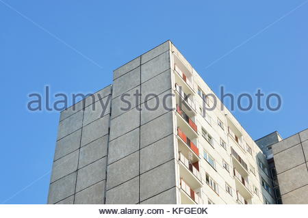 Close up of a old apartment block with balconies on the Stare Zegrze area in Poznan, Poland - Stock Image