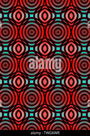 Monochrome seamless pattern assembled from intersecting black ovals with red edging, lying on convex light-turquoise and red highlights - Stock Image
