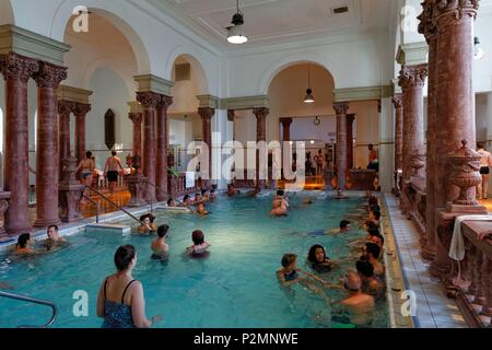 Budapest, Hungary, area classified as World Heritage, Pest, Varosliget, The Széchenyi Baths, among the largest thermal spas in Europe - Stock Image